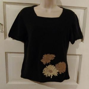 Jaclyn Smith Short Sleeve Gray Floral Sweater S